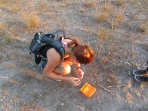 Ashley collecting fecal samples